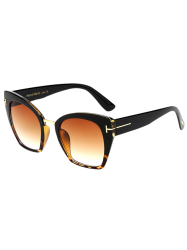 UV Protection Metallic Square Mirrored Reflective Sunglasses - BLACK+YELLOW C8