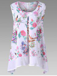Plus Size Birds Floral Print Chiffon Asymmetric Top