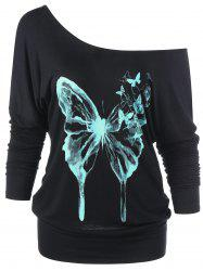 Butterfly 3D Print Skew Neck Sweatshirt - BLACK