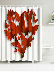 Butterflies Heart Waterproof Fabric Bath Curtain