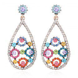 Rhinestoned Floral Teardrop Earrings