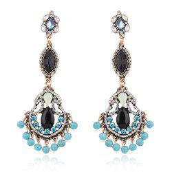 Faux Turquoise Rhinestone Beads Teardrop Earrings