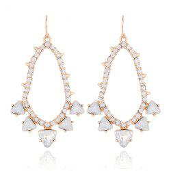 Faux Gemstone Teardrop Triangle Earrings