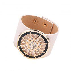 Rhinestone Faux Leather Circle Sun Bracelet
