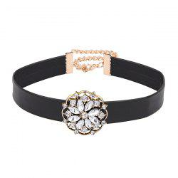 Faux Leather Rhinestone Flower Choker Necklace