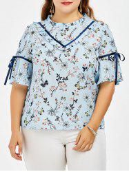 Plus Size Floral Butterfly Print Chiffon Top