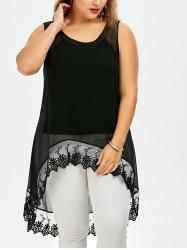Plus Size See Through High Low Top