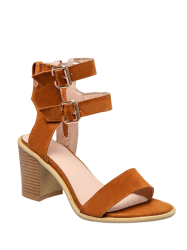 Simple Double Buckles and Chunky Heel Design Sandals For Women