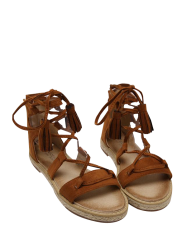 Espadrilles Tassels Gladiator Tie Up Sandals - BROWN