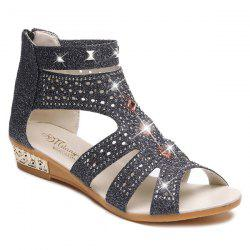 Rivets Rhinestones Low Wedge Sandals - BLACK