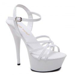 Patent Leather Cross Strap Sandals -
