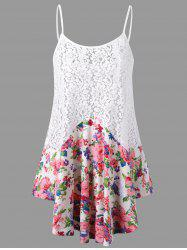 Lace Panel Floral Tank Top - COLORMIX