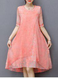 Embroidered Layered Modest A Line Dress - LIGHT PINK