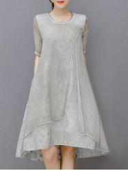 Embroidered Layered Modest A Line Dress