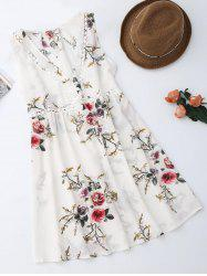 Sleevelss Chiffon Mini Floral Dress - WHITE