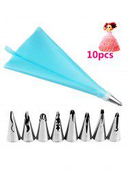 DIY Cake Decorating Squeeze Cream Stainless Steel Piping Nozzle Set - SKY BLUE