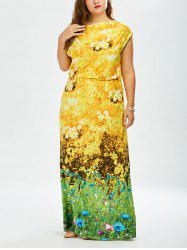 Sunflower Printed  Plus Size Maxi Dress