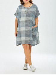 Plaid Plus Size Mini Trapeze  Dress With Pockets