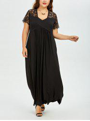 Lace Insert Plus Size Empire Waist Maxi Evening Dress