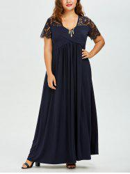Plus Size Lace Panel Maxi A Line Prom Dress