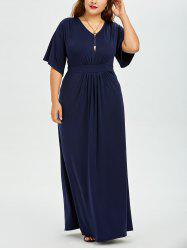 V Neck Plus Size Maxi Formal Evening Dress