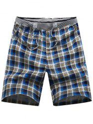 Drawstring Waist Plaid Boardshorts - BLACK
