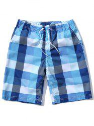 Loose Fitting Plaid Board Shorts