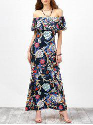 Off The Shoulder Floral Maxi Dress - PURPLISH BLUE