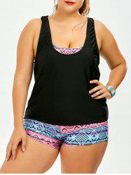 Plus Size Print Strappy Padded Bathing Suit - COLORMIX