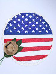 Round Fringe American Flag Print Patriotic Beach Throw