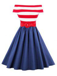 Stripe Off The Shoulder Vintage Dress - RED