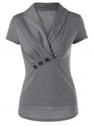 Button Ruched Design Shawl Collar T-Shirt - Gris Léger