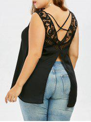 Sleeveless Plus Size Cutwork Back Slit Top - BLACK