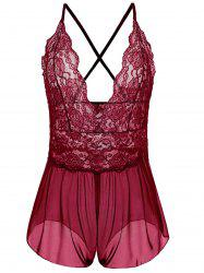 Plus Size Plunging Neck See Through Babydoll - WINE RED