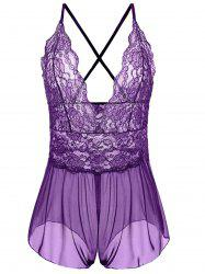 Plus Size Plunging Neck See Through Babydoll - PURPLE