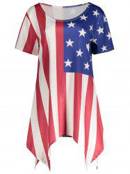Plus Size Asymmetric American Flag Print Top