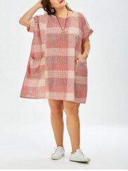 Checked Plus Size Mini Trapeze Dress With Pockets