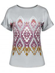 Cuffed Sleeve Geometric Print Slimming Tee