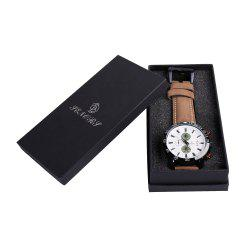 Faux Leather Strap Number Date Analog Watch