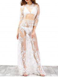 Maxi See Through Wedding Dress with Lace -