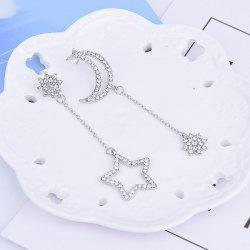 Asymmetric Rhinestone Star Moon Chain Earrings