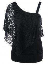 One Shoulder Lace Capelet Slimming T-Shirt - BLACK