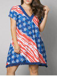 Plus Size Tassel American Flag Print Dress -