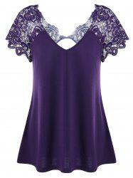 V Neck Plus Size Lace Trim Cutwork T-Shirt - DEEP PURPLE