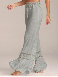 Lace Insert High Waisted Flowy Palazzo Pants