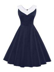 V Neck Swing Vintage Dress - PURPLISH BLUE