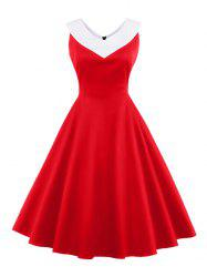 V Neck Empire Waist A Line Swing Vintage Dress -