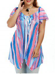 Plus Size Colorful Asymmetrical Smock Tunic Top