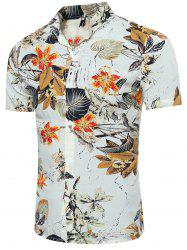 Breathable 3D Leave and Florals Print Shirt - COLORMIX 3XL