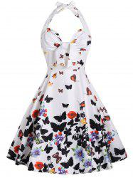 Halter A Line Butterfly Print Dress - WHITE